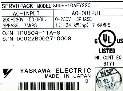 New Refurbished Exchange Repair  Yaskawa Drives-AC Servo SGDH-10AE-Y220 Precision Zone