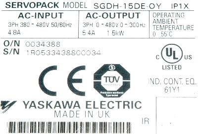 New Refurbished Exchange Repair  Yaskawa Drives-AC Servo SGDH-15DE-OY Precision Zone