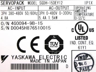 New Refurbished Exchange Repair  Yaskawa Drives-AC Servo SGDH-15DE-Y12 Precision Zone