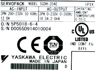 New Refurbished Exchange Repair  Yaskawa Drives-AC Servo SGDH-20AE Precision Zone