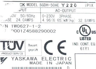 New Refurbished Exchange Repair  Yaskawa Drives-AC Servo SGDH-50AE-Y220 Precision Zone