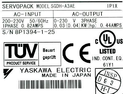 New Refurbished Exchange Repair  Yaskawa Drives-AC Servo SGDH-A3AE Precision Zone