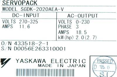 New Refurbished Exchange Repair  Yaskawa Drives-AC Servo SGDK-2020AEA-V Precision Zone