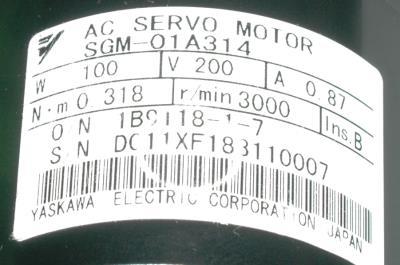 New Refurbished Exchange Repair  Yaskawa Motors-AC Servo SGM-01A314 Precision Zone