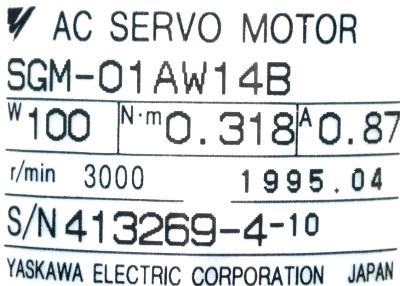 New Refurbished Exchange Repair  Yaskawa Motors-AC Servo SGM-01AW14B Precision Zone