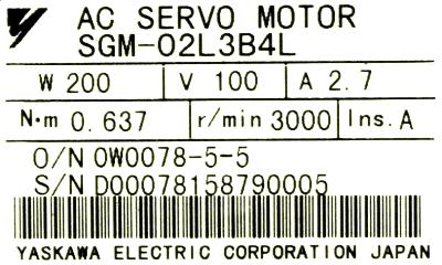 New Refurbished Exchange Repair  Yaskawa Motors-AC Servo SGM-02L3B4L Precision Zone