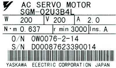 New Refurbished Exchange Repair  Yaskawa Motors-AC Servo SGM-02U3B4L Precision Zone