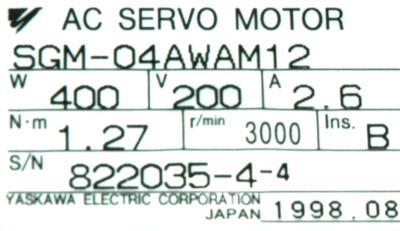 New Refurbished Exchange Repair  Yaskawa Motors-AC Servo SGM-04AWAM12 Precision Zone