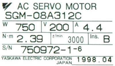 New Refurbished Exchange Repair  Yaskawa Motors-AC Servo SGM-08A312C Precision Zone
