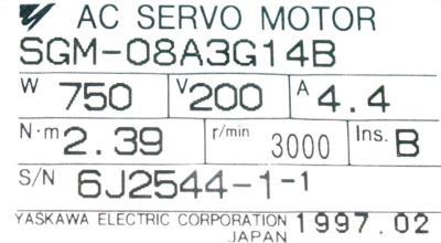 New Refurbished Exchange Repair  Yaskawa Motors-AC Servo SGM-08A3G14B Precision Zone