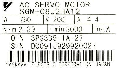 New Refurbished Exchange Repair  Yaskawa Motors-AC Servo SGM-08U2HA12 Precision Zone