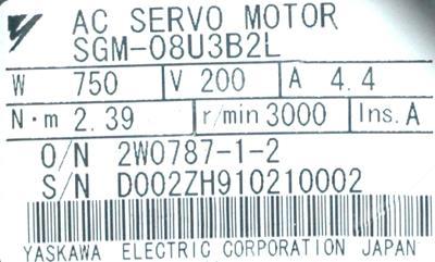 New Refurbished Exchange Repair  Yaskawa Motors-AC Servo SGM-08U3B2L Precision Zone