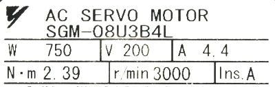New Refurbished Exchange Repair  Yaskawa Motors-AC Servo SGM-08U3B4L Precision Zone