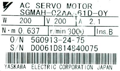 New Refurbished Exchange Repair  Yaskawa Motors-AC Servo SGMAH-02AAA61D-OY Precision Zone