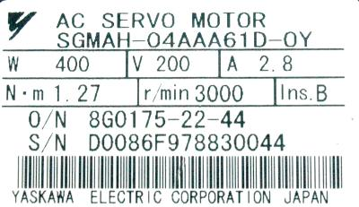 New Refurbished Exchange Repair  Yaskawa Motors-AC Servo SGMAH-04AAA61D-OY Precision Zone