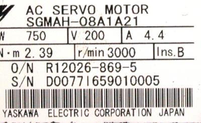 New Refurbished Exchange Repair  Yaskawa Motors-AC Servo SGMAH-08A1A21 Precision Zone