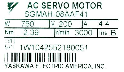 New Refurbished Exchange Repair  Yaskawa Motors-AC Servo SGMAH-08AAF41 Precision Zone