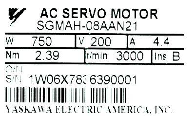 New Refurbished Exchange Repair  Yaskawa Motors-AC Servo SGMAH-08AAN21 Precision Zone