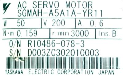 New Refurbished Exchange Repair  Yaskawa Motors-AC Servo SGMAH-A5A1A-YR11 Precision Zone