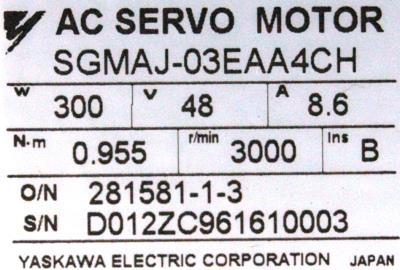 New Refurbished Exchange Repair  Yaskawa Motors-AC Servo SGMAJ-03EAA4CH Precision Zone