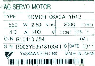 New Refurbished Exchange Repair  Yaskawa Motors-AC Servo SGMDH-06A2A-YR13 Precision Zone