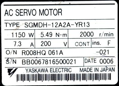 New Refurbished Exchange Repair  Yaskawa Motors-AC Servo SGMDH-12A2A-YR13 Precision Zone
