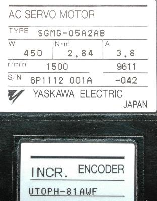 New Refurbished Exchange Repair  Yaskawa Motors-AC Servo SGMG-05A2AB Precision Zone