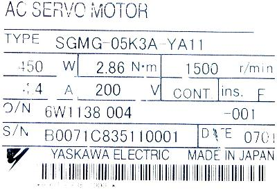 New Refurbished Exchange Repair  Yaskawa Motors-AC Servo SGMG-05K3A-YA11 Precision Zone