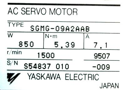 New Refurbished Exchange Repair  Yaskawa Motors-AC Servo SGMG-09A2AAB Precision Zone