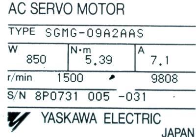 New Refurbished Exchange Repair  Yaskawa Motors-AC Servo SGMG-09A2AAS Precision Zone