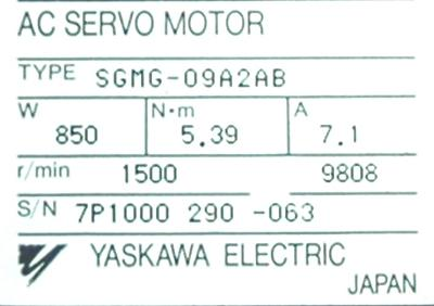 New Refurbished Exchange Repair  Yaskawa Motors-AC Servo SGMG-09A2AB Precision Zone