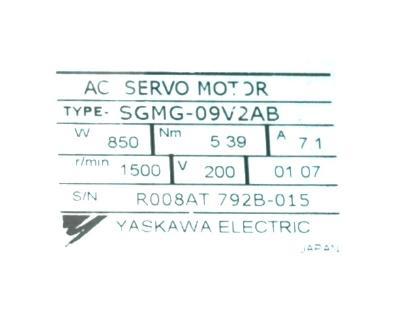New Refurbished Exchange Repair  Yaskawa Motors-AC Servo SGMG-09V2AB Precision Zone