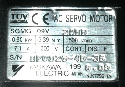 New Refurbished Exchange Repair  Yaskawa Motors-AC Servo SGMG-09V2ABB Precision Zone
