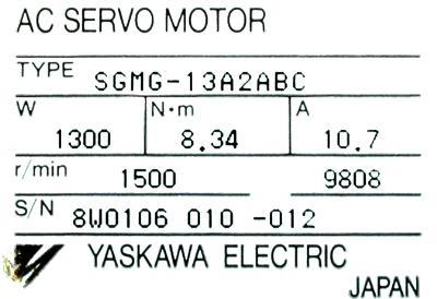 New Refurbished Exchange Repair  Yaskawa Motors-AC Servo SGMG-13A2ABC Precision Zone