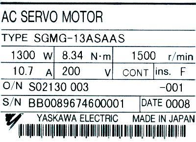 New Refurbished Exchange Repair  Yaskawa Motors-AC Servo SGMG-13ASAAS Precision Zone
