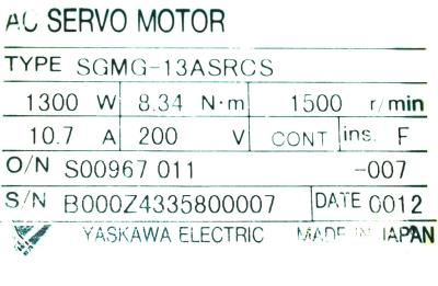 New Refurbished Exchange Repair  Yaskawa Motors-AC Servo SGMG-13ASRCS Precision Zone