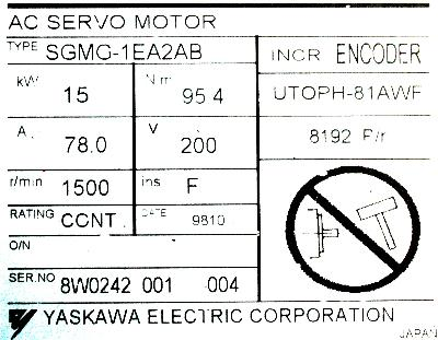 New Refurbished Exchange Repair  Yaskawa Motors-AC Servo SGMG-1EA2AB Precision Zone