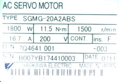 New Refurbished Exchange Repair  Yaskawa Motors-AC Servo SGMG-20A2ABS Precision Zone