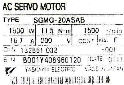 New Refurbished Exchange Repair  Yaskawa Motors-AC Servo SGMG-20ASAB Precision Zone