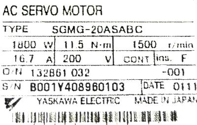 New Refurbished Exchange Repair  Yaskawa Motors-AC Servo SGMG-20ASABC Precision Zone