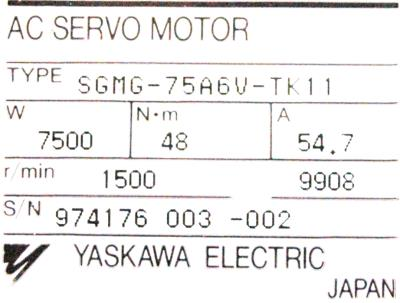 New Refurbished Exchange Repair  Yaskawa Motors-AC Servo SGMG-75A6V-TK11 Precision Zone