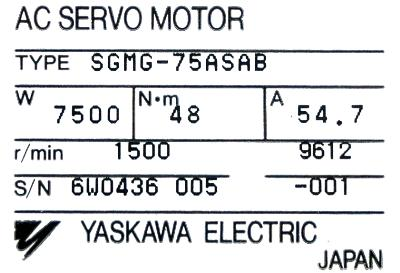 New Refurbished Exchange Repair  Yaskawa Motors-AC Servo SGMG-75ASAB Precision Zone