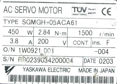 New Refurbished Exchange Repair  Yaskawa Motors-AC Servo SGMGH-05ACA61 Precision Zone