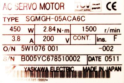 New Refurbished Exchange Repair  Yaskawa Motors-AC Servo SGMGH-05ACA6C Precision Zone