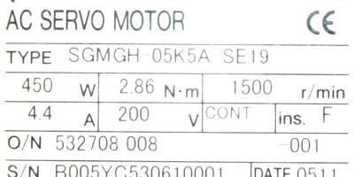 New Refurbished Exchange Repair  Yaskawa Motors-AC Servo SGMGH-05K5A-SE19 Precision Zone