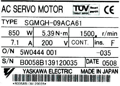 New Refurbished Exchange Repair  Yaskawa Motors-AC Servo SGMGH-09ACA61 Precision Zone
