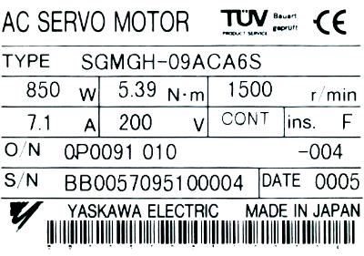 New Refurbished Exchange Repair  Yaskawa Motors-AC Servo SGMGH-09ACA6S Precision Zone