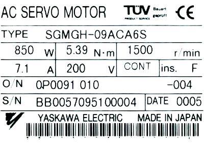 New Refurbished Exchange Repair  Yaskawa Motors-AC Servo SGMGH-09ACA6S Precision Zone