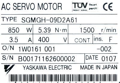New Refurbished Exchange Repair  Yaskawa Motors-AC Servo SGMGH-09D2A61 Precision Zone