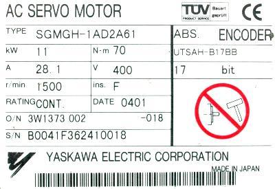 New Refurbished Exchange Repair  Yaskawa Motors-AC Servo SGMGH-1AD2A61 Precision Zone